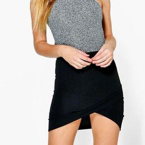 2/$20✨NWT Petite Wrap Curved Hem Mini Skirt